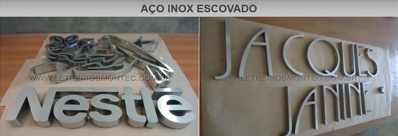 Letreiros com letras de aço inox escovado