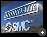 Letras de aço inox escovado para o letreiro da empresa Hidroair