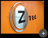 Letreiro circular em aço inox escovado para para empresa Ztec