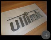 Letreiro fabricado com material nobre de aço inox escovado para empresa Ullink