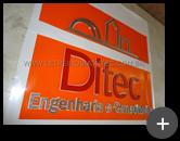 Confecção das letras de inox escovado para o letreiro da empresa Ditec - Engenharia e Consultoria