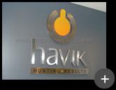 Letreiro da Havik produzido com material em aço inox escovado