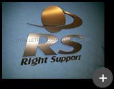 Letreiro da RS Right Support produzido com letras e logotipo em inox escovado