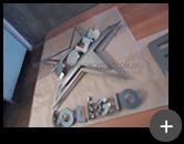 Produção do logotipo diferenciado em formato de estrela para escola em aço inox escovado