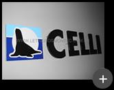Letreiro para indústria Celli galvanizado com pintura fabricado e instalado