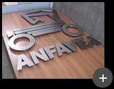 Letra caixa produzida em aço inox escovado sofisticado para Associação dos fabricantes Automotores - Anfavea