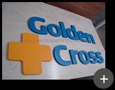 Produção do letreiro galvanizado com letra e logotipo para Golden Cross