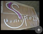 Letreiro galvanizado para o Buffet Piazzo com pintura.