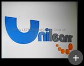 Letreiro de aço da empresa Unileanr