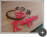 Letreiro da cafeteria e lanchonete em aço galvanizado tratato e pintado na cor vermelha