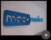 Letreiro de aço galvanizado para empresa Mack Medical