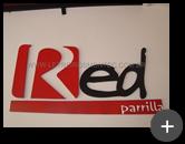 Letreiro produzido em aço galvanizado para o restaurante Red Parrilla