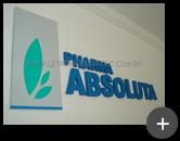 Letreiro produzido com letras e logotipo para Pharma Absoluta