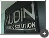 Letreiro para Audin - Business Solution, fabricado em inox polido