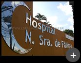 Letreiro instalado de inox polido com alto brilho nas letras para o Hospital Nossa Senhora de Fátima