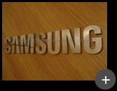 Letreiro para Samsung sofisticado em aço inox polido com alto brilho