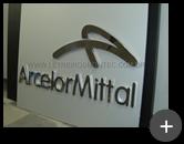Letreiro de aço inox polido para a indústria Arcelor Mitta