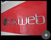 letreiro de inox para empresa Taxweb