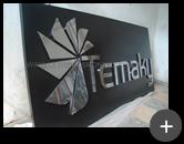Fabricação do letreiro de inox polido e logotipo em formato inovador para empresa Temaky