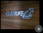 Letreiro Instalado na loja de suplementos alimentares Omnilife iluminado com leds, transmitindo requinte e sofisticação ao ambiente