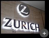 Letreiro com led para Zurich seguros instalado com requinte sofisticado no ambiente