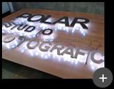 Letreiro com leds para estúdio fotográfico - Fiação embutida para a iluminação dos leds