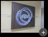 Letreiro com leds produzido e instalado para o escritório do grupo Bradesco - Departamento de Pesquisa e Inovação do Grupo Bradesco