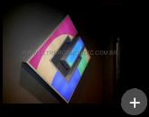 Letreiro luminoso do escritório de tecnologia da empresa GUEP em acrílico com leds instalado em ambiente interno.