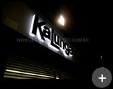 Letreiro Kalunga luminoso com leds instalado na fachada da loja da Kakunga do Rio de Janeiro - RJ