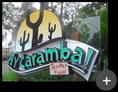 Letreiro luminoso em acrilico com leds. Projeto inovador com logotipo para o restaurante de Fast Foods - Ay Caramba!