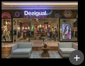 Letreiro luminoso para rede de lojas de roupas do Shopping instalado na fachada. A Letreiros Montec atende toda a rede das lojas nos Shoppings da Desigual em todo Brasil com sede na Espanha