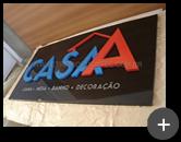Letreiro para loja Cama - Mesa e Banho - Casa A  - Produzido em ACM com letras de aço galvanizado com pintura
