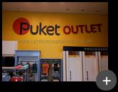 Letreiro interno da loja de roupas da Puket Outlet de rua em aço com pintura instalado