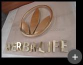 Letreiro para a rede de lojas da franquia Herbalife produzido em latão polido para todo o Brasil