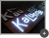 Produção de letreiro luminoso da loja Kalunga