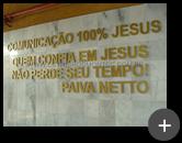 Letreiro em aço galvanizado pintado para igreja. Letreiro fabricado e instalado com frases de Paiva Netto