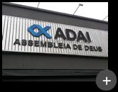 Letreiro da igreja ADAI - Assembléia de Deus com logotipo e letras fabricadas e instaladas na fachada