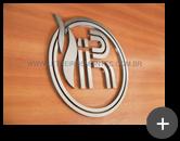 Produção do logotipo em aço inox para igreja em formato circular e curvas sinuosas