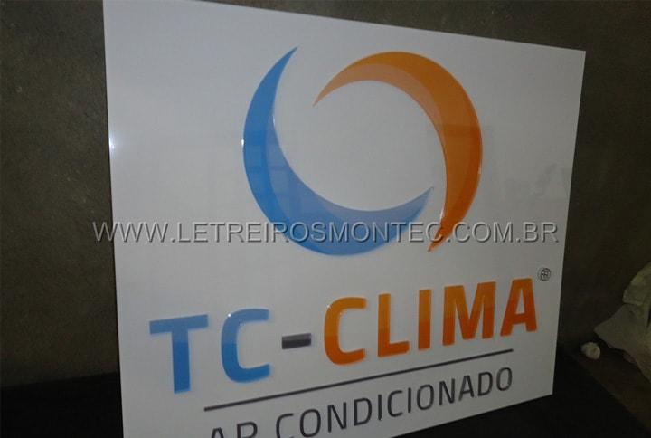Letreiro de acrílico com impressão digital para a recepção do escritório da empresa de ar condicionado