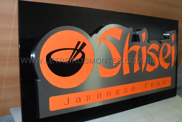 Letreiro luminoso para a fachada do restaurante com culinária japonesa