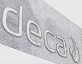Letra caixa Deca em aço inox escovado